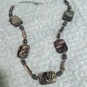 Jewelry - Gorgeous Vintage Sterling Silver Abalone Necklace